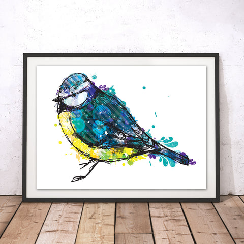 Blue Tit Original Print by Louise Whitmore