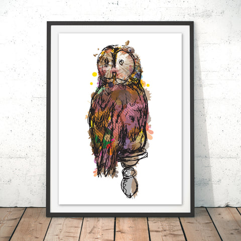 Wise Owl Original Print by Louise Whitmore