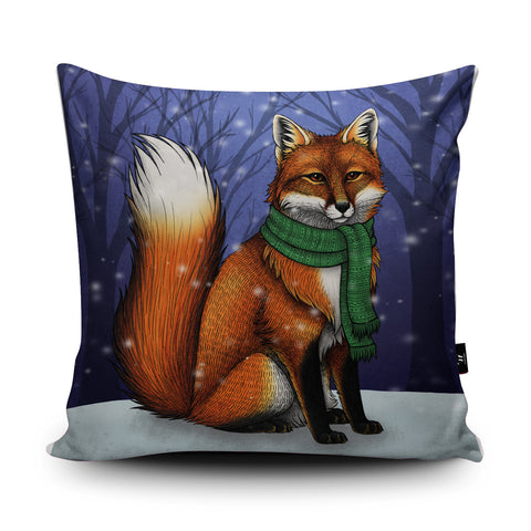 Red Fox Christmas Cushion by Lyndsey Green