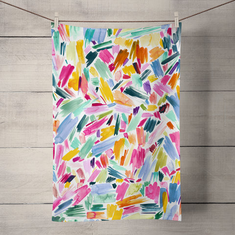 Artsy Abstract Strokes Tea Towel by Ninola Design