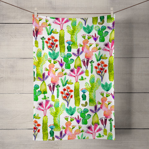 Cacti Garden Tea Towel by Ninola Design