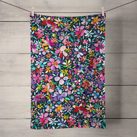 Colourful Flower Petals Navy Tea Towel by Ninola Design