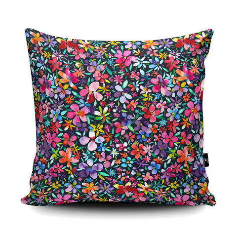 Colourful Flowers Petals Navy Cushion by Ninola Design