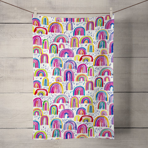 Cute Rainbows Tea Towel by Ninola Design
