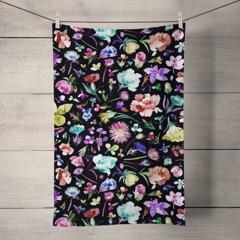 Flower Buds Dark Tea Towel by Ninola Design