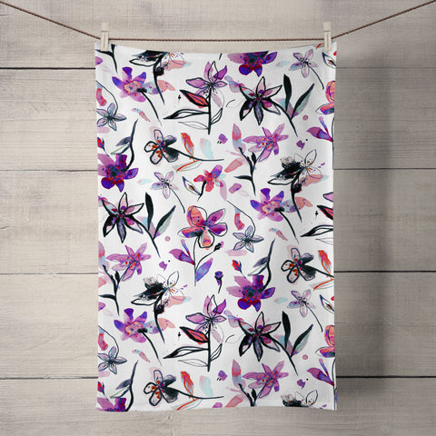 Ink Flowers Pink Tea Towel by Ninola Design