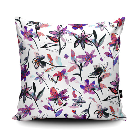 Ink Flowers Pink Cushion by Ninola Design