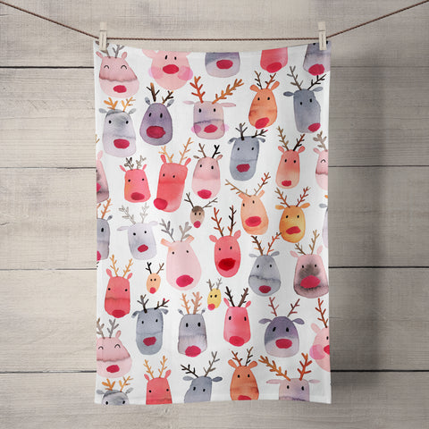 Reindeers Tea Towel by Ninola Design
