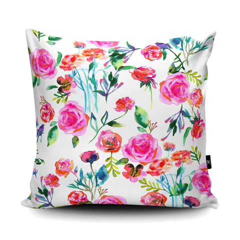 Roses Bouquet Pink Cushion by Ninola Design