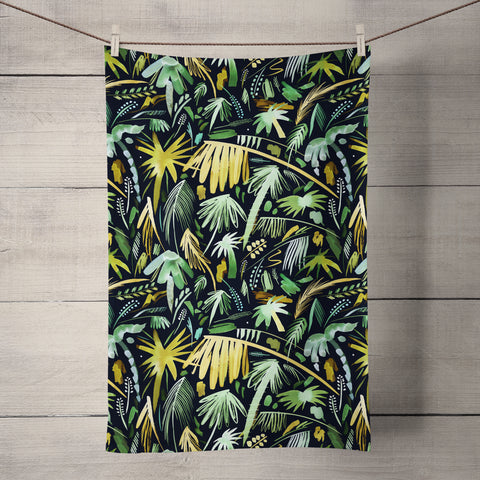 Tropical Expressive Palms Green Tea Towel by Ninola Design