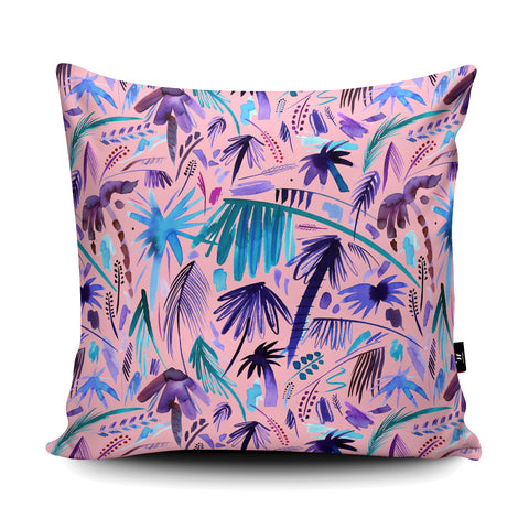 Tropical Expressive Palms Pink Cushion by Ninola Design