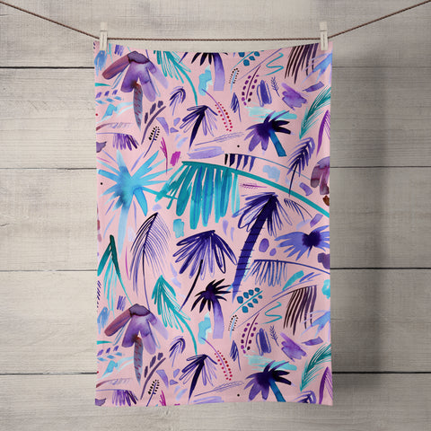 Tropical Expressive Palms Pink Tea Towel by Ninola Design