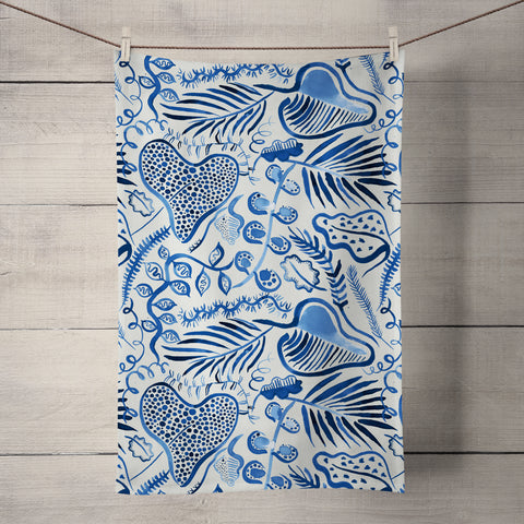 Tropical Forest Blue Tea Towel by Ninola Design