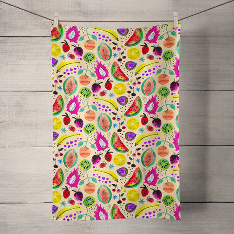 Tropical Fruits Yellow Tea Towel by Ninola Design