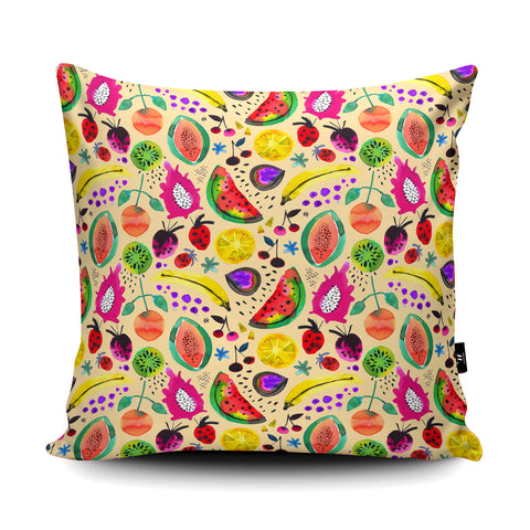 Tropical Fruits Yellow Cushion by Ninola Design