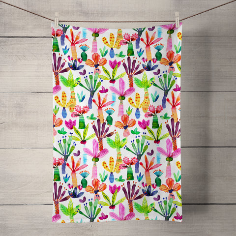 Tropical Palms Tea Towel by Ninola Design