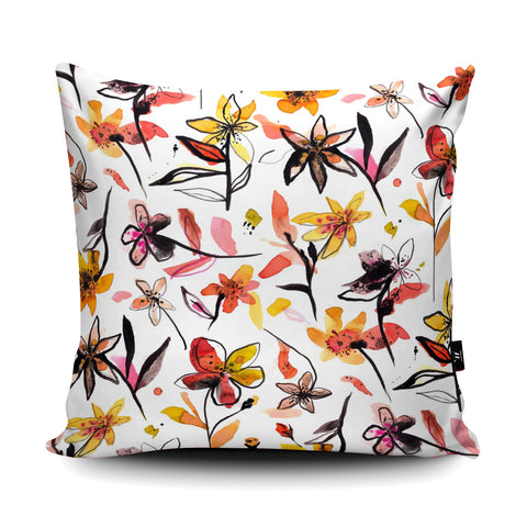 Ink Flowers Yellow Cushion by Ninola Design