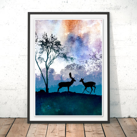 Deer Original Print by Phill Taffs