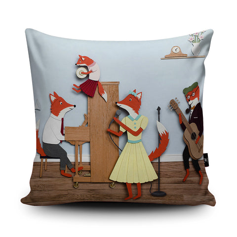 Band of Foxes Cushion by Rachael Edwards