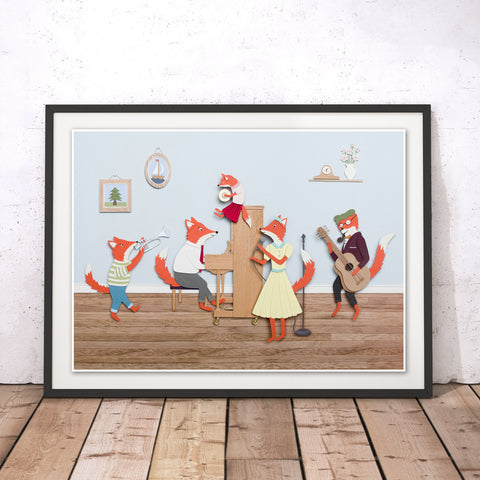 Band of Foxes Original Print by Rachael Edwards