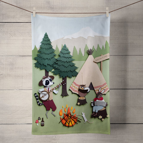 Woodland Camping Tea Towel by Rachael Edwards