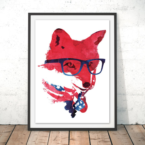 American Fox Original Print by Robert Farkas