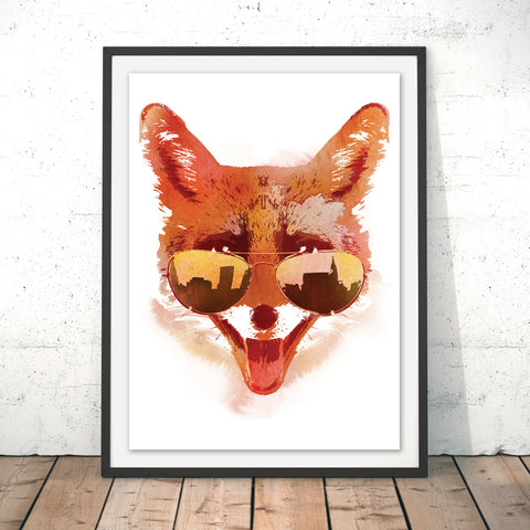 Big Town Fox Original Print by Robert Farkas