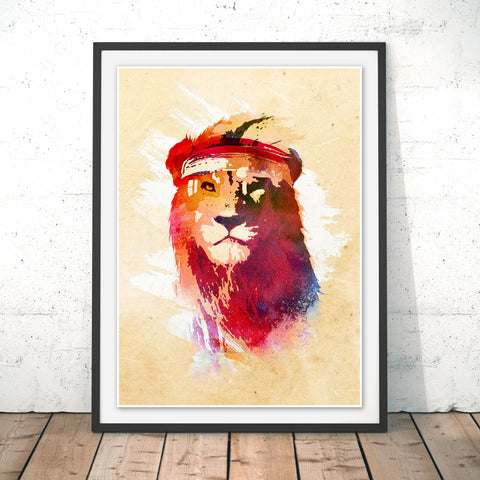 Gym Lion Original Print by Robert Farkas