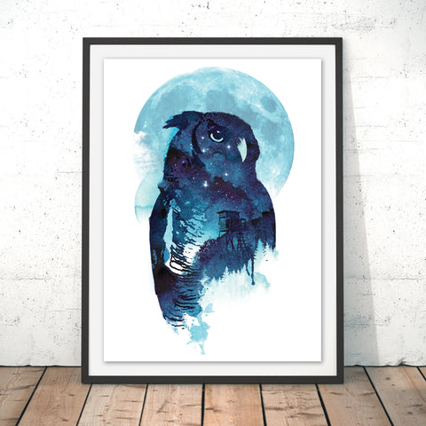 Midnight Owl Original Print by Robert Farkas
