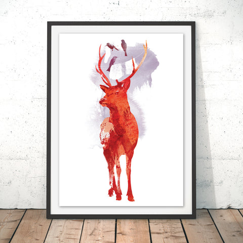 Useless Deer Original Print by Robert Farkas