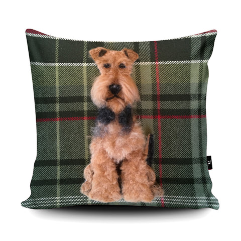 Airedale Terrier Cushion by Sharon Salt
