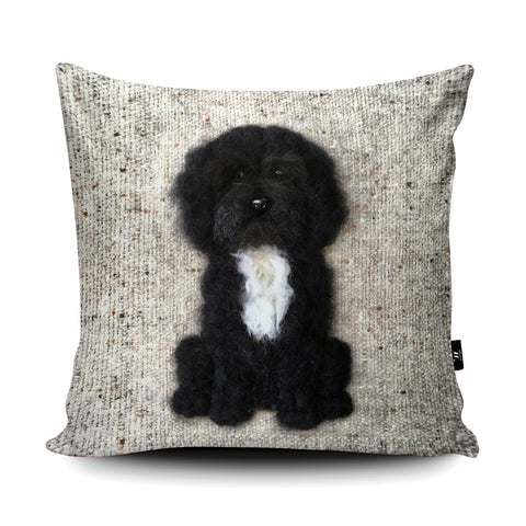 Cockapoo Black Cushion by Sharon Salt