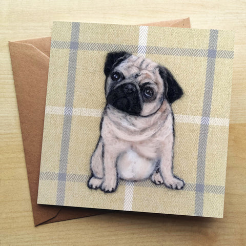 Pug Greetings Card by Sharon Salt