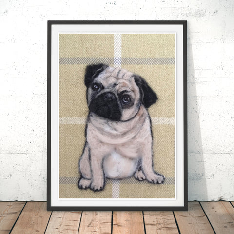 Pug Original Print by Sharon Salt