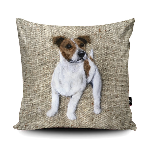 Smooth Haired Jack Russell Cushion by Sharon Salt