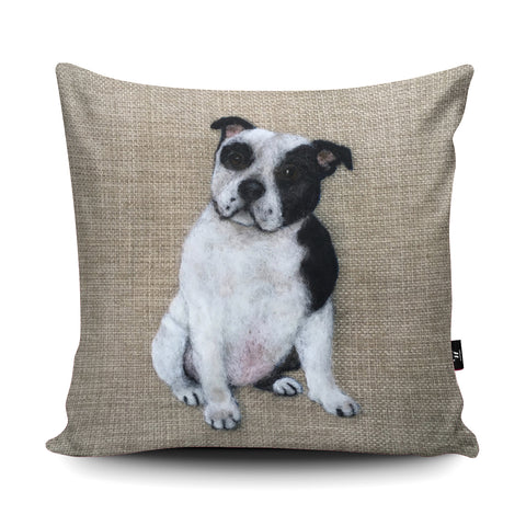 Staffordshire Bull Terrier Black White Cushion by Sharon Salt