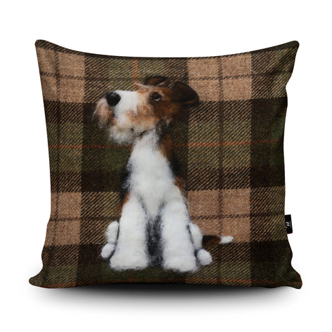 Wire Fox Terrier Cushion by Sharon Salt
