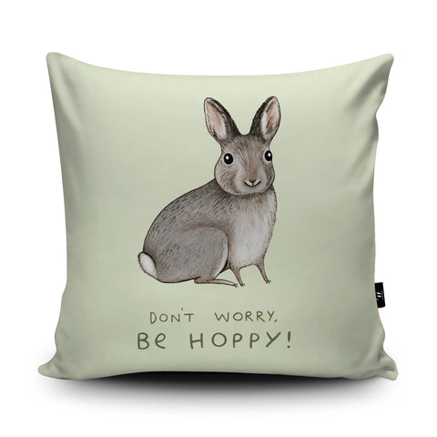 Don't Worry Be Hoppy Cushion by Sophie Corrigan
