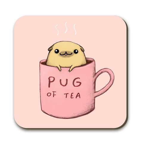Pug of Tea Coaster by Sophie Corrigan