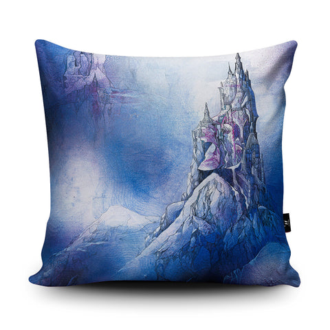 Spire in the Mist Cushion by Lee Vincent
