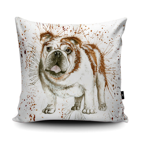 Splatter Bulldog Cushion by Katherine Williams