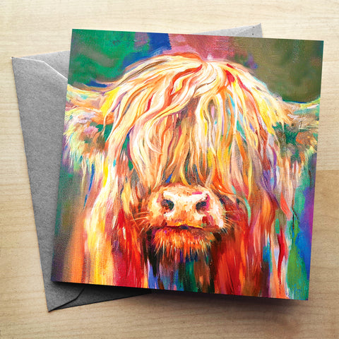 Baby Highland Greetings Card by Sue Gardner