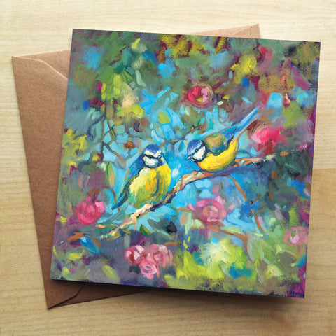 Bluebirds And Blossom Greetings Card by Sue Gardner