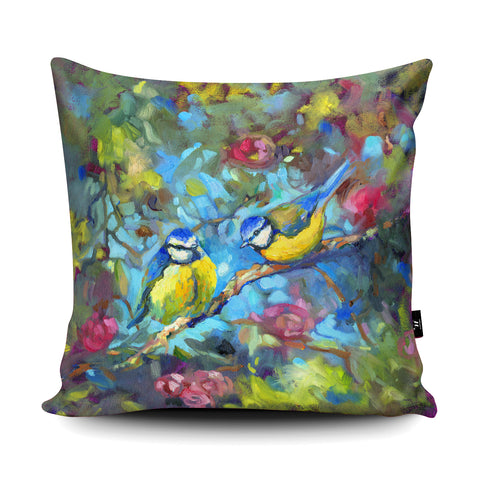 Bluebirds & Blossom Cushion by Sue Gardner