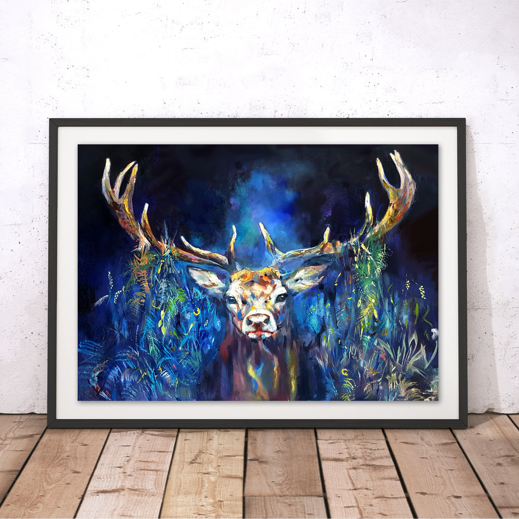 Blue Grazing Stag