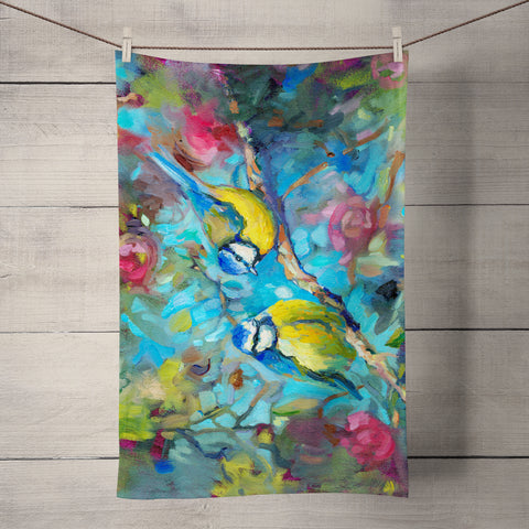 Bluebirds & Blossom Tea Towel by Sue Gardner