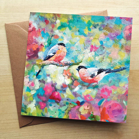 Bullfinches Greetings Card by Sue Gardner