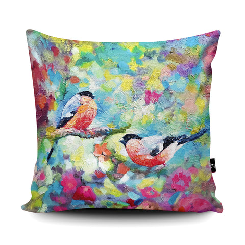 Bullfinches Cushion by Sue Gardner