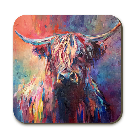 Highland Cow Coaster by Sue Gardner