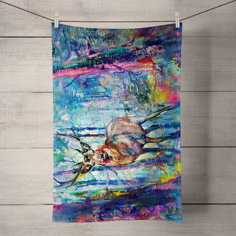 Mystic Stag Tea Towel by Sue Gardner